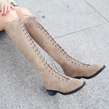 Women Flat Low Heel Over the Knee Boots Casual Lace up Suede Winter Boots Zipper