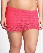 NEW Becca by Rebecca Virtue Plus size 2X 20-22 Coral Crochet Swim Skirt