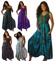 BOHO BATIK RAYON SMOCKED DRESS LACING POCKETS PLUS SIZES LotusTraders MTO U872