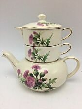 "Chintz Royal Winton England Scotch Thistle Stacking Teapot 6"" Tall Tea For One"