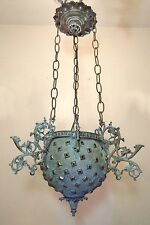 antique ornate 1800's Victorian electrified electric hanging chandelier fixture