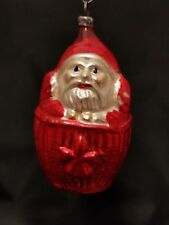 Rare Vintage German 1930's Santa in a Basket Glass Ornament 3""