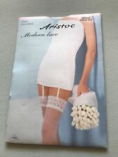 VINTAGE ARISTOC SHEER STOCKINGS MEDIUM CREAM SILK LACE TOP SATIN LEG FINISH