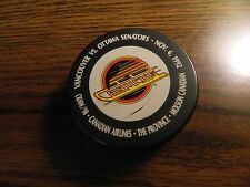 Vancouver Canucks puck vs OTTAWA 1st Game Nov.6/1992