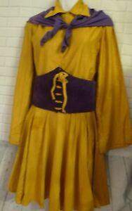 1942 Gold Purple Cheerleader Outfit Uniform Socks Waist Belt Top Skirt Sears box