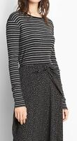 ​New Vince Long Sleeve Double Stripe Crew Tee top shirt Charcoal Grey XS S M L