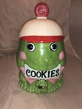 VINTAGE WHIMSICAL1960s FROG WEARING RED/WHITE CAP COOKIE JAR WITH LID JAPAN