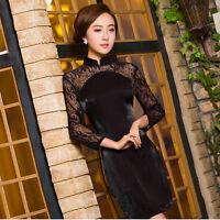 New Women's Cheongsam Qipao Lace Long sleeve evening party short Chinese dress