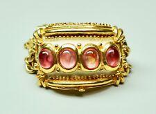 Vintage LAZARO Diaz Chunky Cuff Chain Bracelet Bright Gold Finish Tourmaline?
