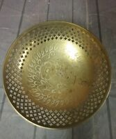 VINTAGE Brass Floral Etched Bowl marked India