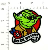"""YODA DO OR DO NOT IRON ON PATCH 3.75"""" Embroidered Applique Star Wars Tattoo 458"""