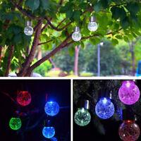 Outdoor Solar LED Lights Crystal Ball Garden Fairy lamp Color Change Party Decor