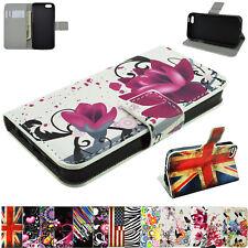 Flower Print Premium Flip Leather Cover Wallet Case for iPhone 8 7 Plus 6 6S SE