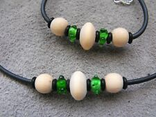 LAMPWORK GLASS wood BEADED choker NECKLACE & BRACELET set rubber #7