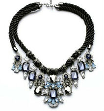 N735 Betsey Johnson Crystal Gem Blue Rhinestone Wedding Accessories Necklace US