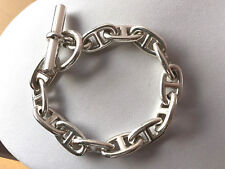 """Hermes Chaine d'Ancre Sterling Silver Anchor Chain Link Toggle Bracelet 75 gr 8"""""""