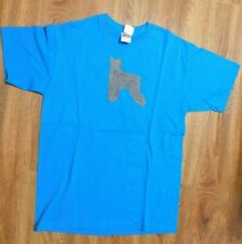 Hand Painted Schnauzer Dog Blue T-Shirt Medium One of a Kind!