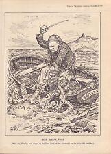 """1939 cartoon print """" devil - fish """" winston churchill"""