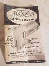 Vintage Sunbeam Electric Hand Saw Instructions And Parts List
