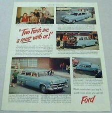 1953 Print Ad '53 Ford Cars 4-Doors & Station Wagons Gas Station & Pumps
