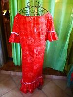 T  4-5 belle robe longue  rouge pour danser le fandango ???? artisanale b état