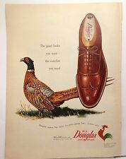 Douglas shoes ad for men magazine print 14 inch 1952 Pheasant Art