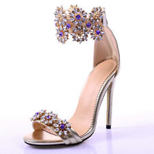 Womens Strappy Crystal Flower Sandals Stilettos High Heel Open Toe Shoes Size 38