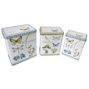 Set of 3 Tin Storage Containers Featuring a Shabby Chic Butterfly Design