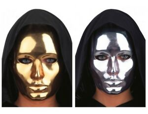 Hommes Robotique Masque Argent Or Métal Style Déguisement Bal Cyborg Métallique