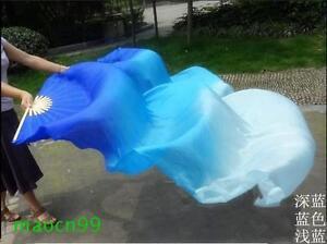 1 Pair(L+R) 100%Silk belly dance fan veil Dark blue/ blue/ light blue(1.5m 1.8m)