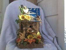 "Decorative Wood Birdhouse License Plate Roof Garden Ready 13-1/2"" H"