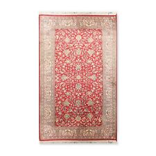 "3' x 5'1"" Hand Knotted Kashmir Pure Silk 340-400 KPSI Area Rug GOI Certified 3x5"