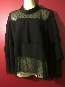 ANGIE Black Ruffled Tri-Layer Sheer Top - Juniors Large - NWT