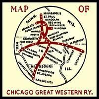 Chicago Great Western Railway Map FRIDGE MAGNET