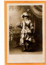 Studio Real Photo Postcard RPPC Girl Hobo Dress w/ Patches Hat Pin Holding Mask