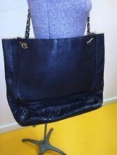 Chanel Black Leather W/Gold Chain Shoulder Bag