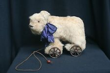 Antique Style Primitive Bear On Wheels Pull Toy Signed By Artist