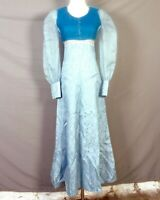vtg 70s MINTY Formal Light Blue Empire Prom Dress Sheer Poet Velvet Vest 32 bust