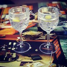 Unique VODKA & TONIC GLASSES EARRINGS smirnoff ABSOLUT ice & slice MINIATURE 3D!