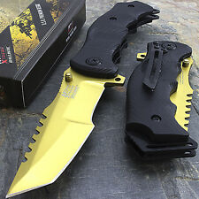 """9"""" Mtech Usa Tanto Gold Spring Assisted Tactical Folding Knife Blade Pocket Open"""