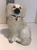 Antique Old Staffordshire Ware England Poodle Dog Figurine Confetti