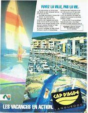 PUBLICITE ADVERTISING 0217  1984   les vacances au Cap d'Agde Languedoc