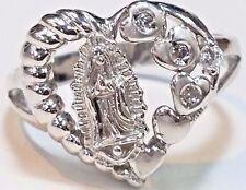 14k SOLID REAL GOLD white V mary heart ring manmade diamond 8 5 6 7 9 10 4.6g