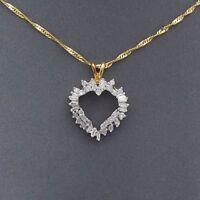 "New 14k Gold 1ctw Baguette Round Diamond Open Heart Pendant Necklace 18"""