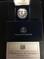 1994 World Cup USA Commemorative Silver Dollar Proof Coin w Box & COA