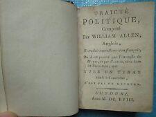 SILIUS TITUS : TRAICTE POLITIQUE tuer un tyran n'est pas un meurtre, 1658 (1792)