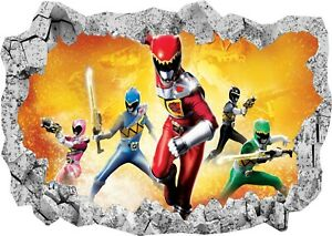 Super Power Dino Charge Bedroom 3d Smashed Wall View Sticker Poster Vinyl Z620