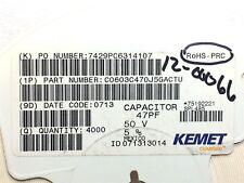 C0603C470J5GACTU KEMET CAP CER 47PF 50V C0G/NP0 0603 ROHS 3900 PIECES