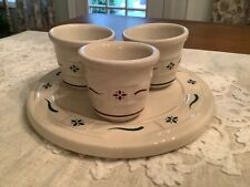 Longaberger Pottery Woven Traditions 3 Votive Candle Holders & Trivet Usa