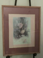 VINTAGE AL RICCIO FRAMED AND MATTED PRINT FLORAL VASE  24 X 29.5 INCHES